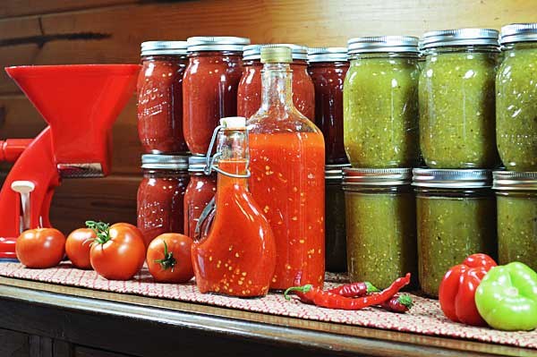 Tomato, Tomatillo Verde Sauce, and Hot Pepper Sauce