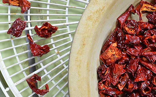 How to Dry/Dehydrate peppers - simple to accomplish and yields such wonderfully concentrated flavors.