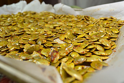 Pumpkin Seeds with Cajun Seasoning: Don't waste those precious pumpkin seeds, roast them instead
