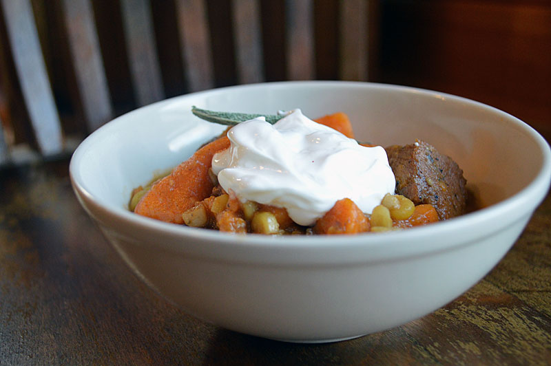 Spicy Pork and Sweet Potato Stew warms you up from the inside out. The Chipotle spiciness is tempered with sweet potatoes and a hint of apple cider, a perfect combination that works well together.