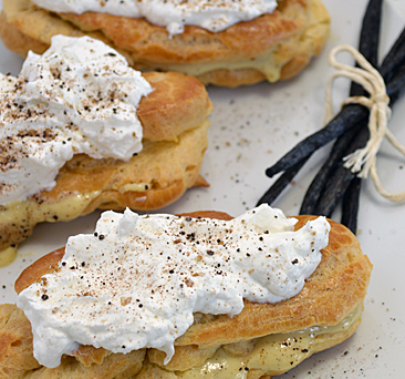 Pate De Choux with Vanilla Bean Custard and Coconut Maple Cream: Pure and Simple