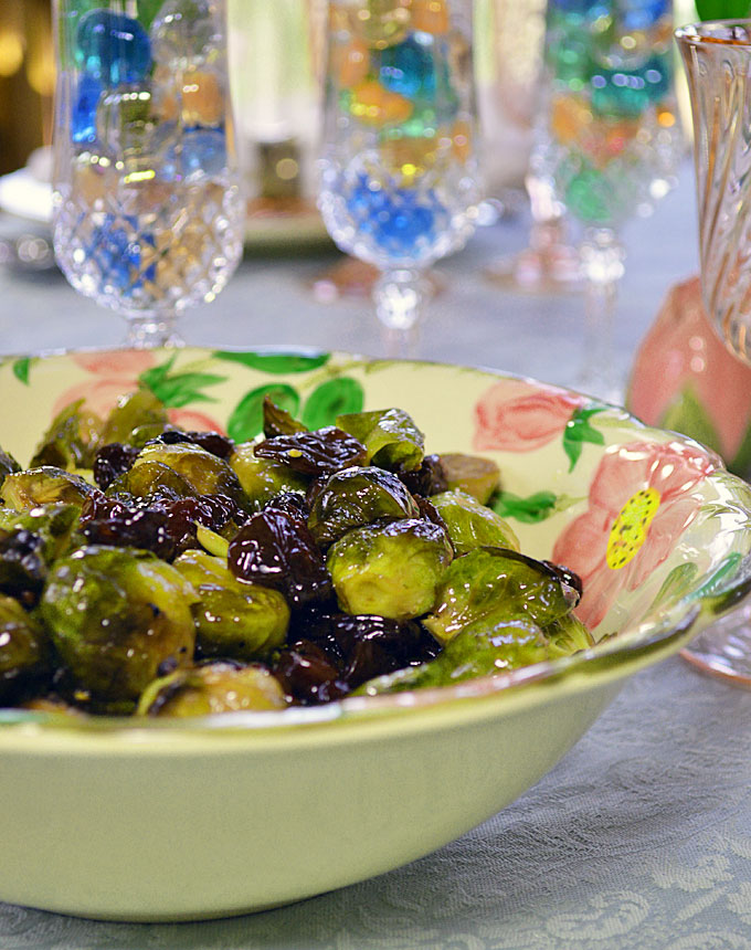 Roasted Brussel Sprouts with Maple Glaze and Cherries