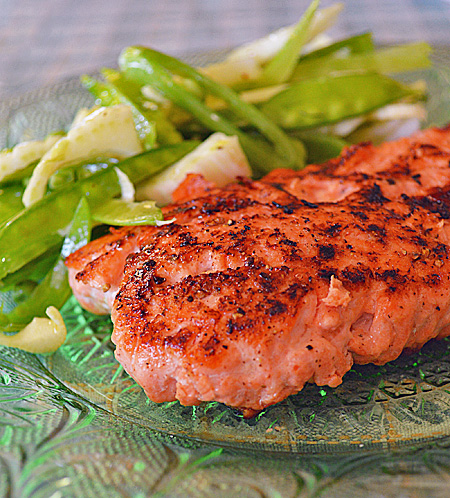 Seared Salmon with Fennel and Sweet Pea Salad