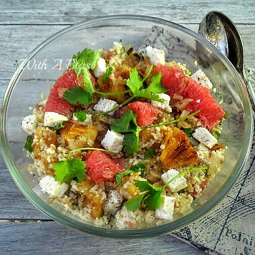 Summertime BBQ Side Dish Roundup: Couscous Salad with Grilled Pineapple and Grapefruit