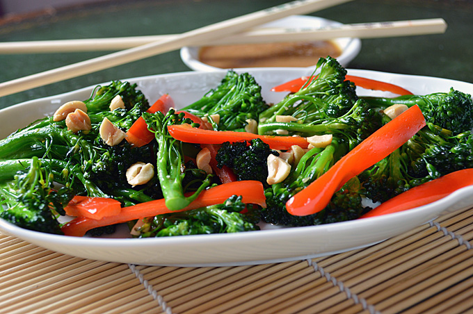 Spicy Stir Fried Broccoli and Peanut Sauce - Pure Grace Farms