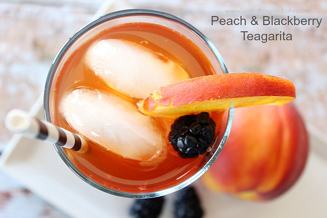 Wonderful Wednesday Blog Hop #82:Peach and Blackberry Teagarita- Love Bakes Good Cakes