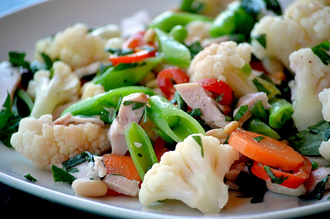 Cauliflower Salad with Ham and White Beans