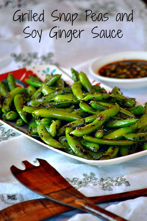 Grilled Snap Peas and Soy Ginger Sauce