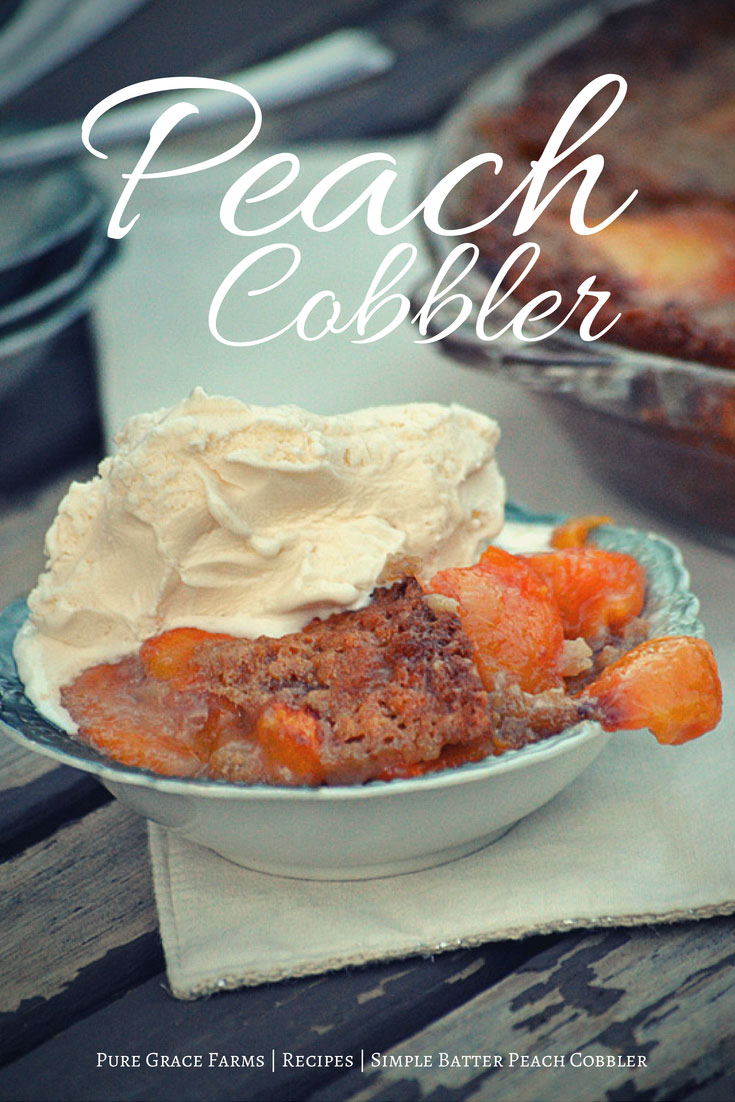 Simple Batter Peach Cobbler