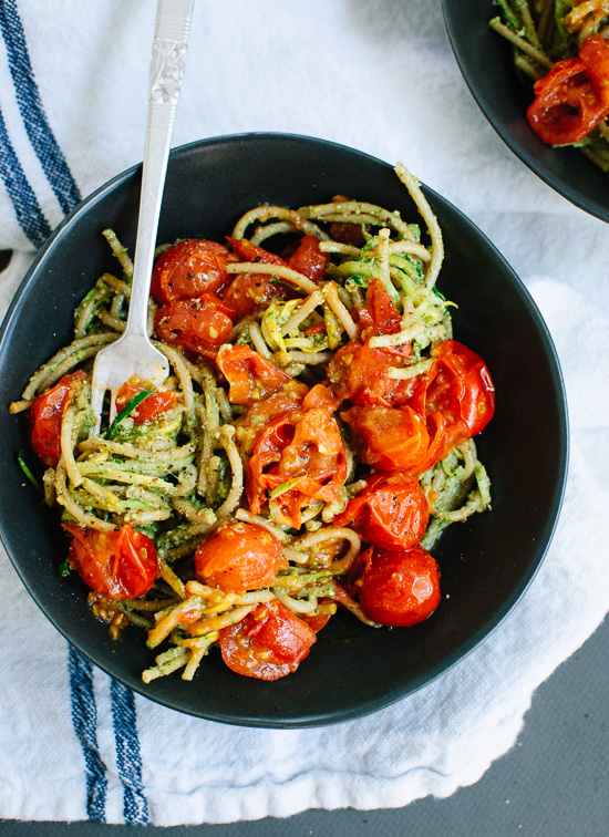 Pesto Squash Noodles and Spaghetti with Burst Cherry Tomatoes : Cookie ...