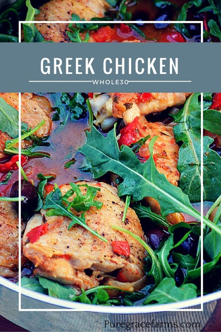 Greek Chicken with Arugula and Kalamata Olives #whole30 #paleo #glutenfree
