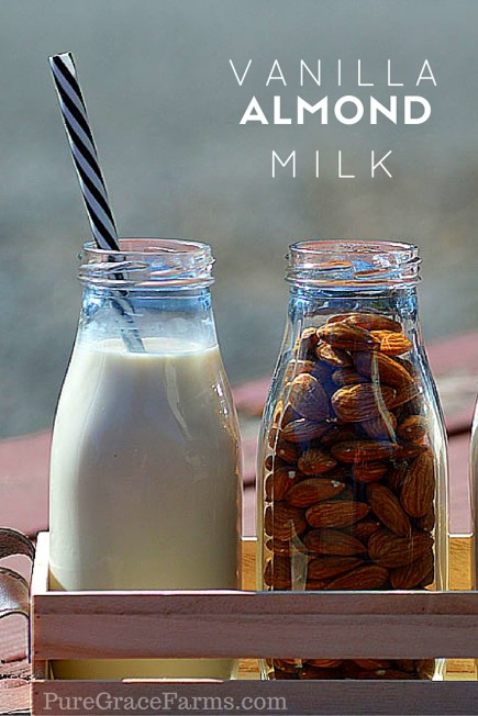 Dates and whole bean vanilla combine with almonds to give this vanilla almond milk a wonderful flavor. A simple recipe with all natural ingredients.