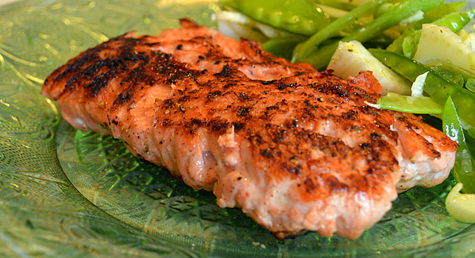 Seared Salmon with Fennel and Sugar Snap Slaw
